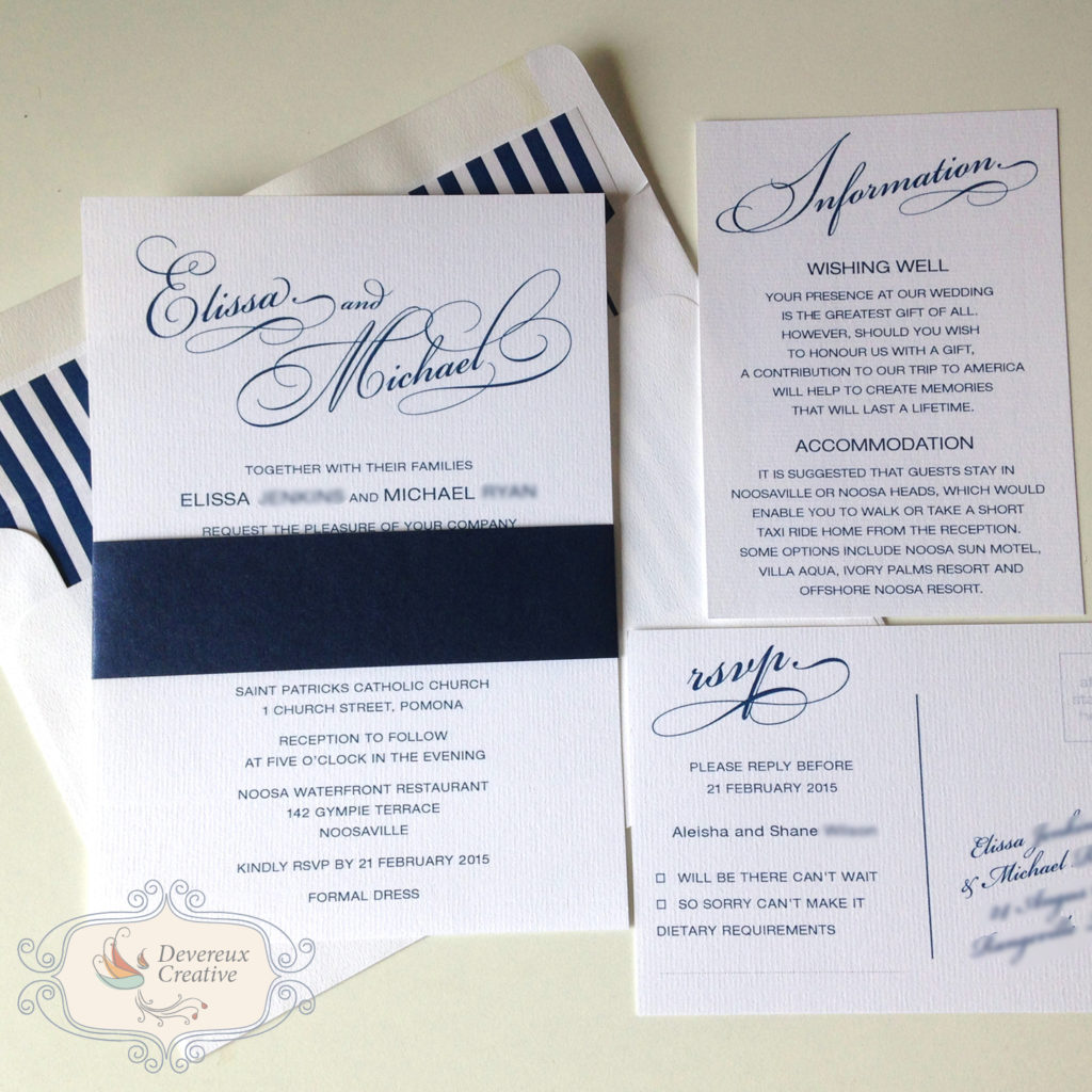 A5 wedding invitation with papier belly band and envelope liners