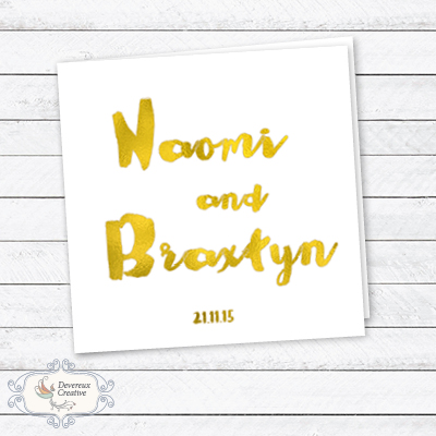 Wedding Invitation Modern with gold foil graphic