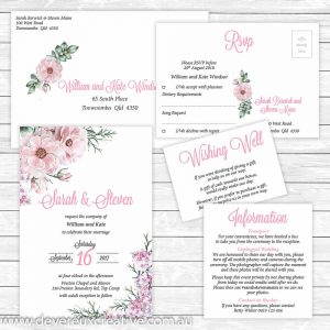 vintage floral wedding invitation package