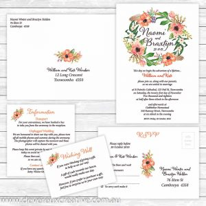 fancy floral wreath wedding invitation package