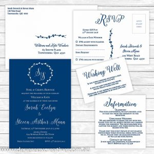 navy blue wedding invitation package