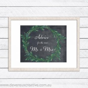 blackboard with wreath advice wedding sign