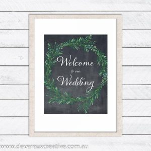 blackboard wreath - welcome to our wedding sign