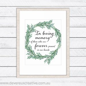 green wreath in loving memory wedding sign