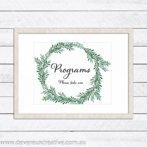 green wreath program wedding sign