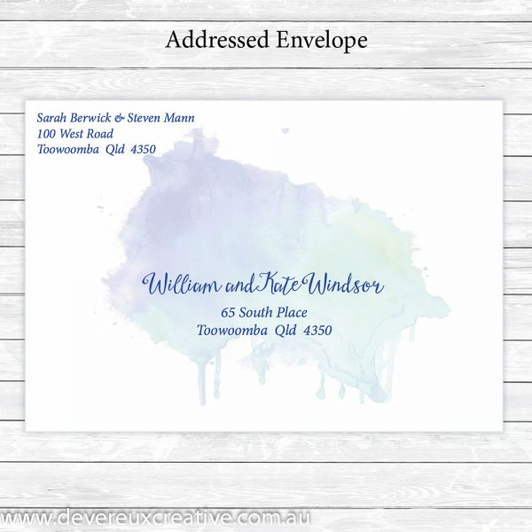 blue watercolour addressed wedding envelope personalised