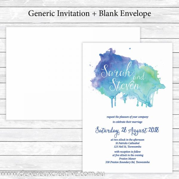 blue watercolour wedding invitations generic