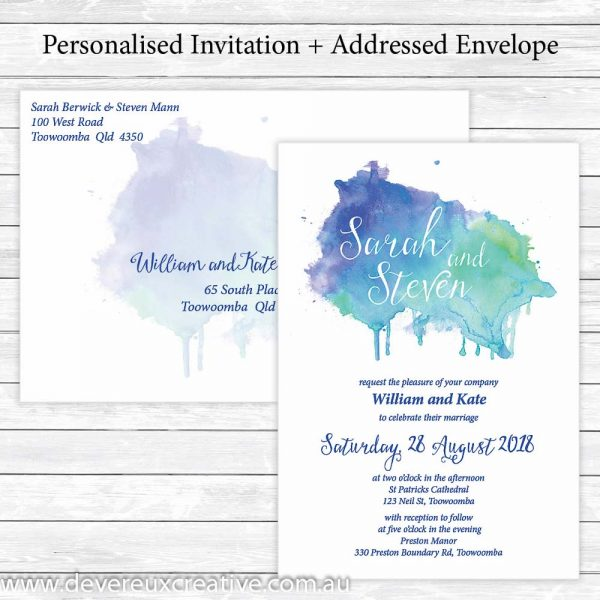 blue watercolour wedding invitations personalised