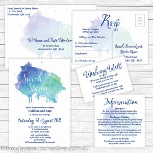 blue watercolour wedding invitation package