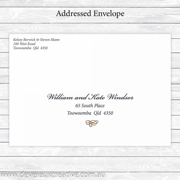 traditional navy and gold addressed wedding envelopes personalised