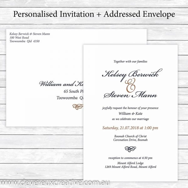 traditional navy and gold wedding invitations personalised