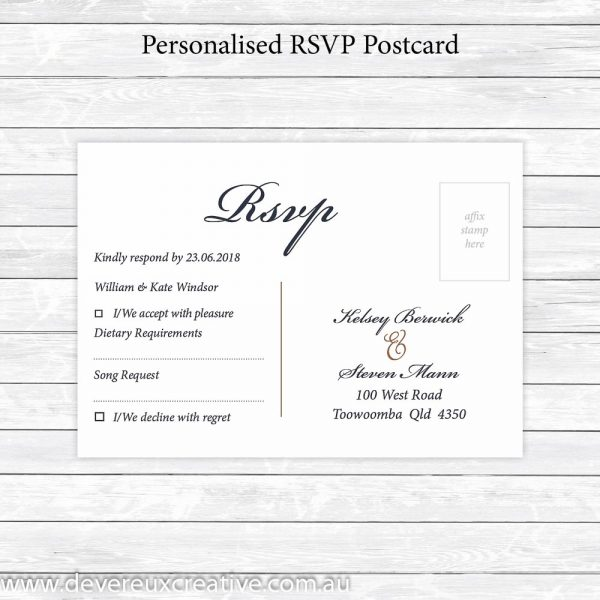 traditional navy and gold rsvp postcard personalised