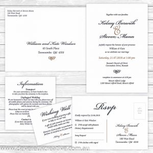 traditional navy and gold wedding invitation package