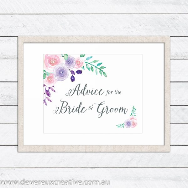 watercolour floral advice wedding sign