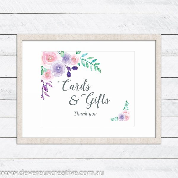 watercolour floral cards and gifts wedding sign