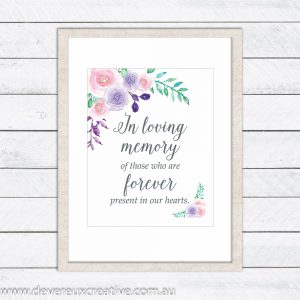 watercolour floral in loving memory wedding sign