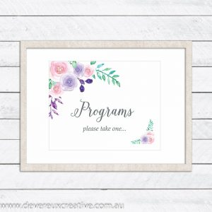 watercolour floral programs wedding sign