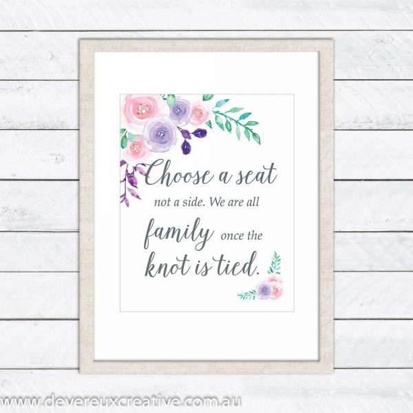 watercolour floral choose a seat wedding sign