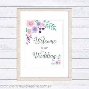 watercolour floral welcome to our wedding sign