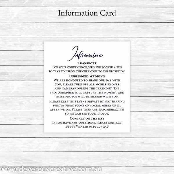 navy information cards