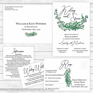 australian native navy wedding invitation package