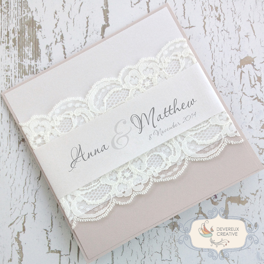 lace wedding invitation with name band