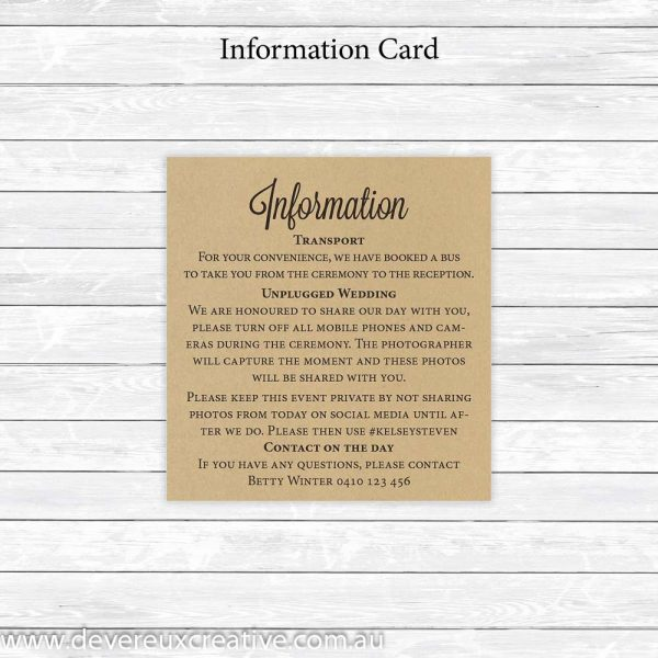 rustic information cards
