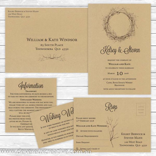 rustic wedding invitation package