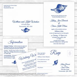 navy beach theme wedding invitation package