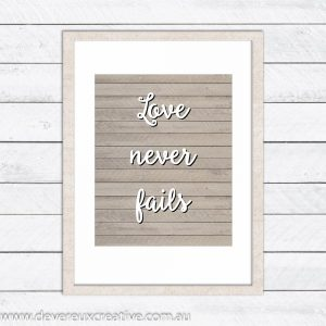 love never fails wooden wedding sign