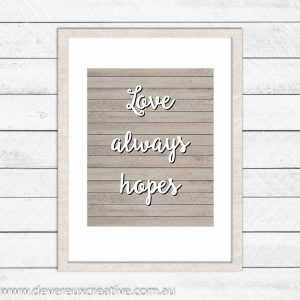 love hopes wooden wedding sign
