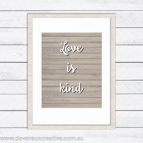 love is kind wooden wedding sign