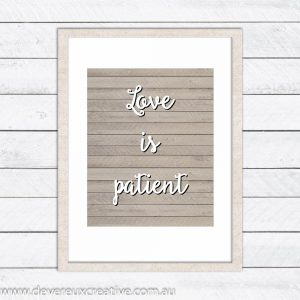 love is patient wooden wedding sign