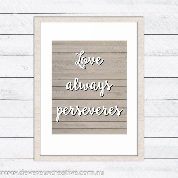 love perseveres wooden wedding sign