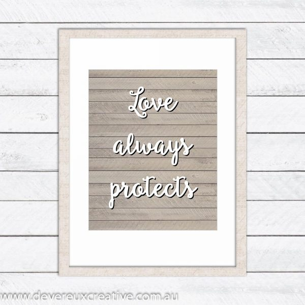 love protects wooden wedding sign