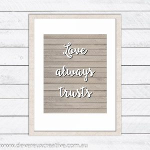 love trusts wooden wedding sign