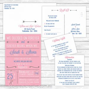 modern wedding invitation package