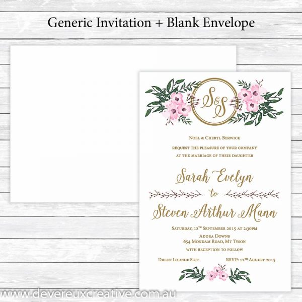 elegant pink floral wedding invitations generic