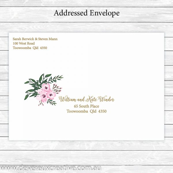 elegant pink floral addressed wedding envelope personalised