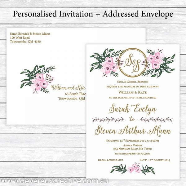 elegant pink floral wedding invitations personalised