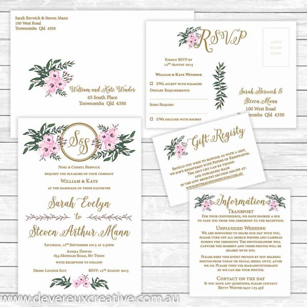 elegant pink floral wedding invitation package