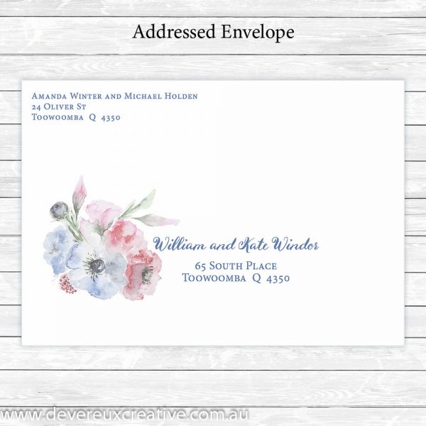 pink and blue watercolour addressed wedding envelope personalised