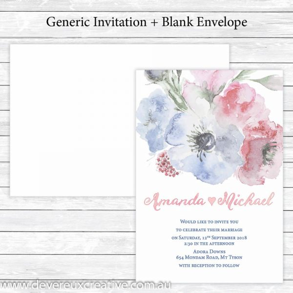 pink and blue watercolour wedding invitations generic