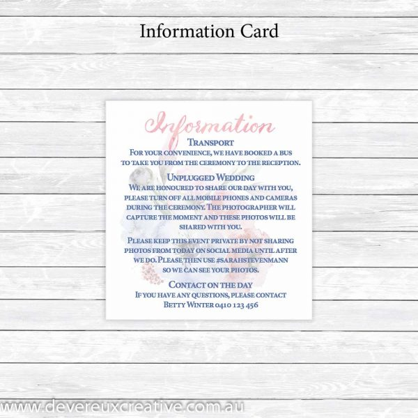 pink and blue watercolour information card
