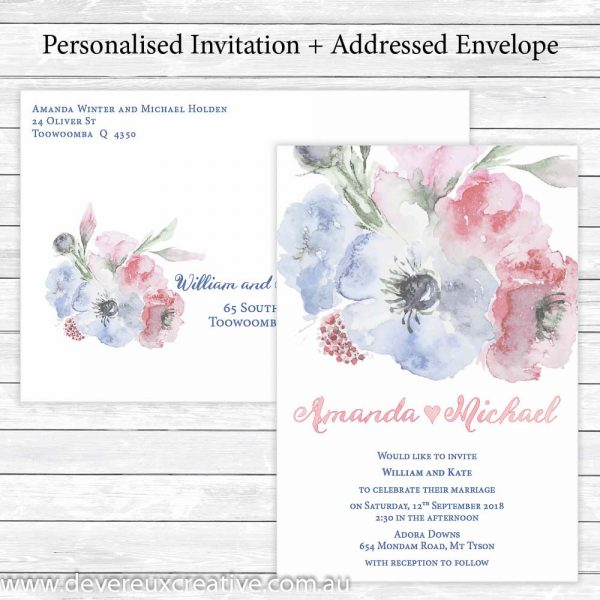 pink and blue watercolour wedding invitations personalised