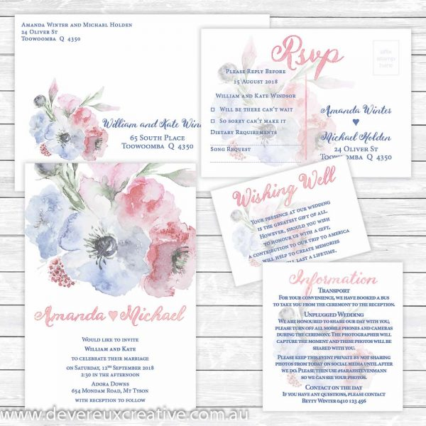 pink and blue watercolour wedding invitation package