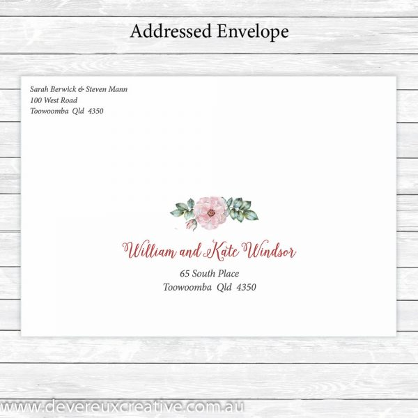 pink peony addressed wedding envelope personalised