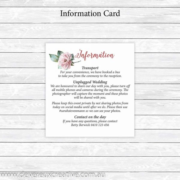 pink peony information cards