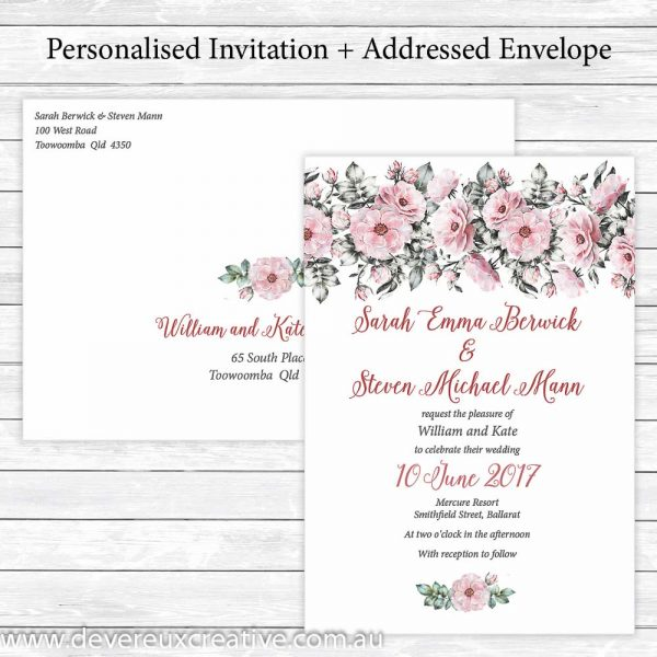 pink peony wedding invitation personalised