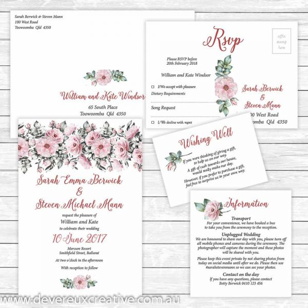 pink peony wedding invitation package